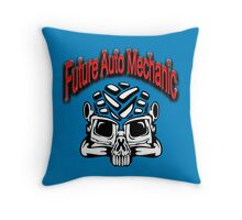 SKULL FUTURE AUTO MECHANIC Throw Pillow