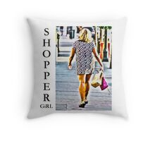 Shopper Girl Throw Pillow