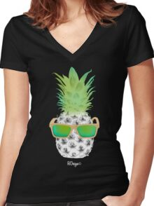 Cool Fruits - Pineapple Women's Fitted V-Neck T-Shirt