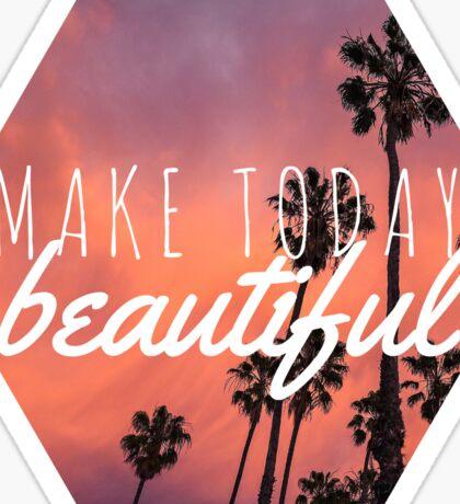 Make today beautiful sunset palm tree surf quote princess print Sticker
