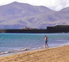 Beach at Puerto del Carmen Sticker