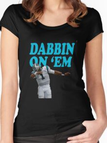 Cam Newton Dab on em Carolina Panthers Women's Fitted Scoop T-Shirt