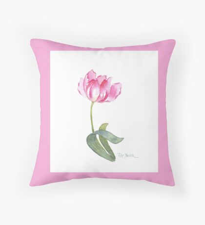 A Single Pink Rose Throw Pillow (Pink Background) Throw Pillow