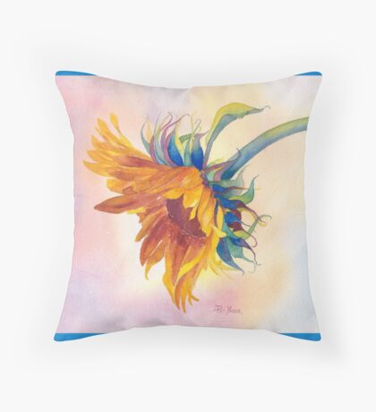 Golden Sunflower Throw Pillow! (Turquoise Background) Throw Pillow