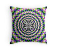 Psychedelic Pulse in Green Blue and Pink Throw Pillow
