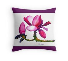 Marwood Spring Magnolia Watercolor Throw Pillow Throw Pillow