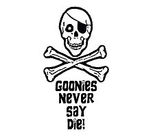 Goonies Never Say Die (Black Text Throw Pillow) by PopCultFanatics