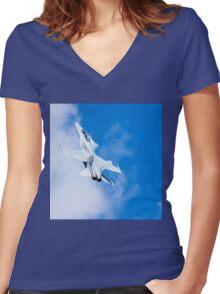 Hornet Goes Rocket Ship Women's Fitted V-Neck T-Shirt