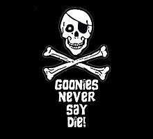 Goonies Never Say Die ( White Text Throw Pillow ) by PopCultFanatics
