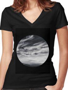 moon of sky // black Women's Fitted V-Neck T-Shirt