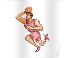 Basketball Player Jumpshot Caricature Poster