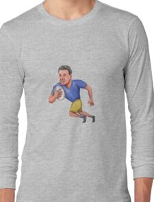 Rugby Player Running Ball Caricature Long Sleeve T-Shirt