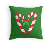 Christmas candy canes with a bow Throw Pillow