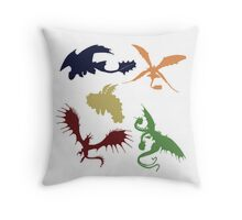 Color Dragon Pillow Throw Pillow