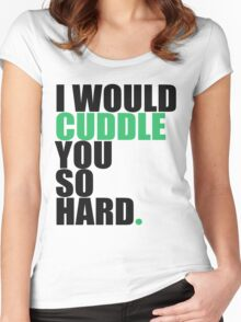 cuddle (blk/grn) Women's Fitted Scoop T-Shirt