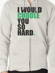 cuddle (blk/grn) Zipped Hoodie