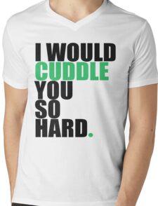 cuddle (blk/grn) Mens V-Neck T-Shirt