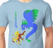 Flying Quetzalcoatl with Flames Blue Unisex T-Shirt