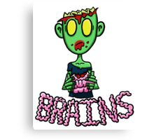 Zombie Eating Brains Canvas Print