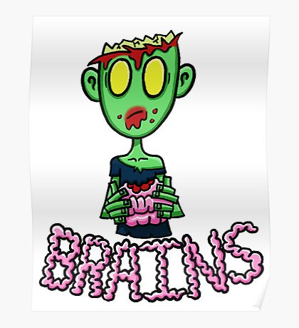 Zombie Eating Brains Poster