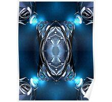 Blue Lights On Metal Poster