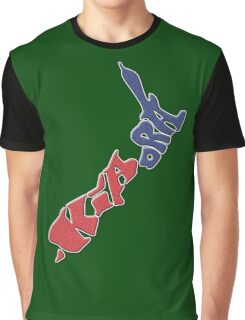 Kia ora = Hello in the Māori language; New Zealand Map, Country, North Island & South Island, Blue & Red, NZ Graphic T-Shirt