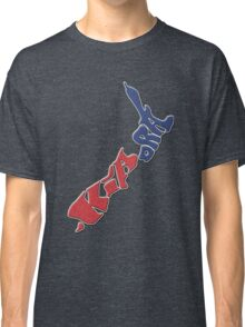 Kia ora = Hello in the Māori language; New Zealand Map, Country, North Island & South Island, Blue & Red, NZ Classic T-Shirt