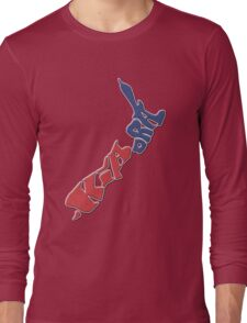 Kia ora = Hello in the Māori language; New Zealand Map, Country, North Island & South Island, Blue & Red, NZ Long Sleeve T-Shirt