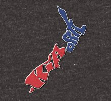Kia ora = Hello in the Māori language; New Zealand Map, Country, North Island & South Island, Blue & Red, NZ Women's Relaxed Fit T-Shirt