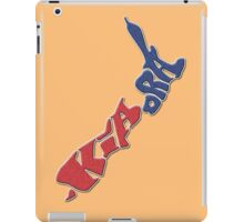 Kia ora = Hello in the Māori language; New Zealand Map, Country, North Island & South Island, Blue & Red, NZ iPad Case/Skin