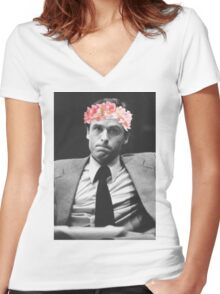 Ted Bundy Flower crown collection. Women's Fitted V-Neck T-Shirt