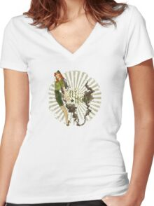 Fly High Dieselpunk Woman Women's Fitted V-Neck T-Shirt