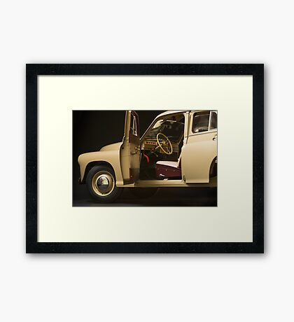 retro car interior on a black background Framed Print