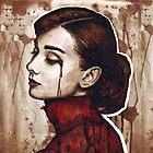 Audrey Hepburn Portrait Painting Watercolor by OlechkaDesign