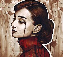 Audrey Hepburn Portrait Painting Watercolor by OlechkaDesign