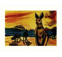 Kangas on beach Art Print