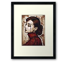 Audrey Hepburn Portrait Painting Watercolor Framed Print