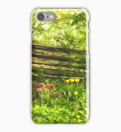 Impressions of Gardens - Colorful Tulips and a Rustic Fence iPhone Case/Skin