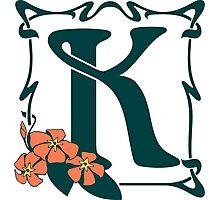 Fancy art nouveau letter K, flower Photographic Print