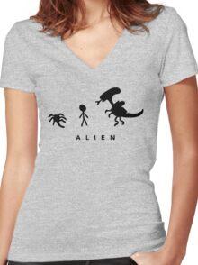 Alien. (BLACK) Women's Fitted V-Neck T-Shirt
