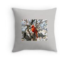 Cardinal In The Apple Blossoms Throw Pillow