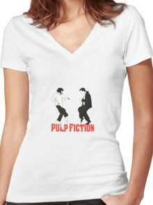 Pulp fiction Dance Women's Fitted V-Neck T-Shirt