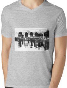 Docklands Melbourne B&W Mens V-Neck T-Shirt