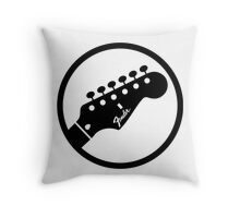 fender stylized headstock black Throw Pillow