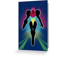 Super Smash Bros Light Blue/Fusion Suit Samus Silhouette Greeting Card