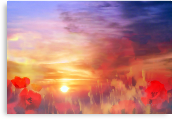 Landscape of dreaming Poppies'... by Valerie Anne Kelly
