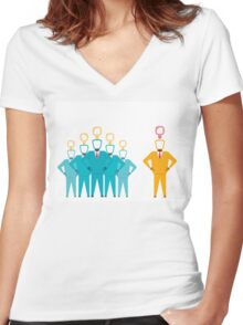 business team with new idea Women's Fitted V-Neck T-Shirt