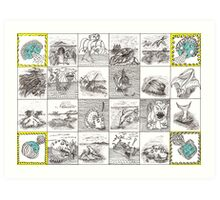Cartouche and mythical creatures Art Print