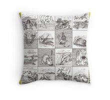 Cartouche and mythical creatures Throw Pillow