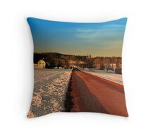 Country road through winter wonderland | landscape photography Throw Pillow